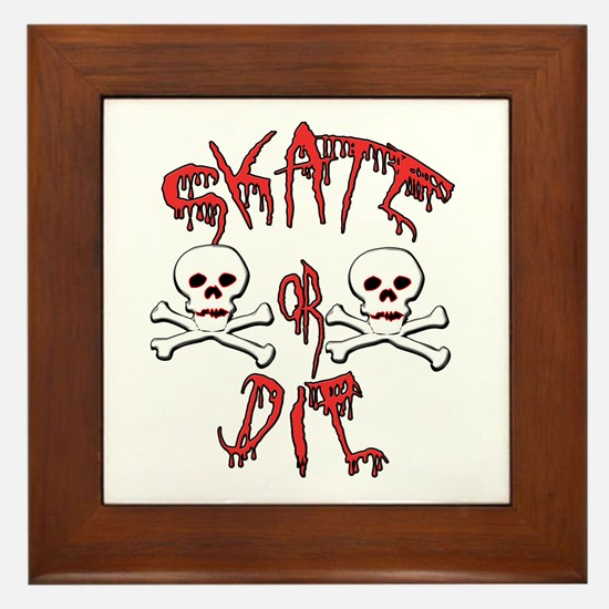 Skate or Die Skulls Framed Tile