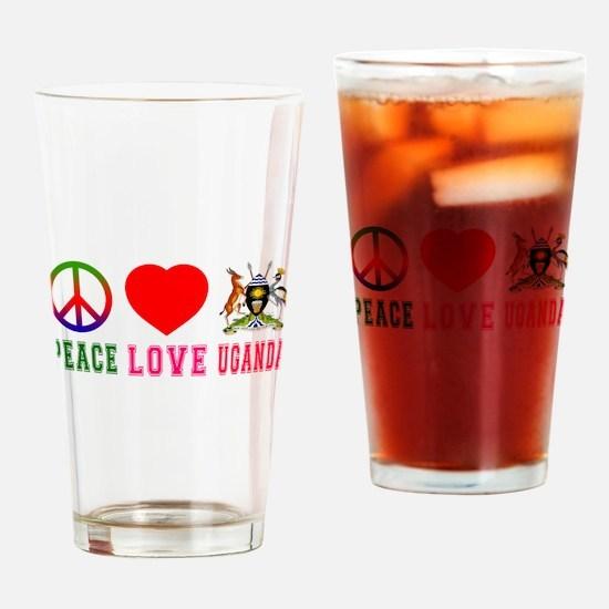 Peace Love Uganda Drinking Glass