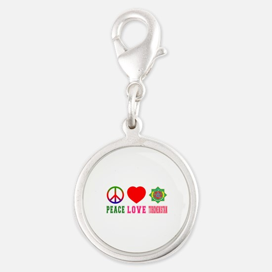 Peace Love Turkmenistan Silver Round Charm