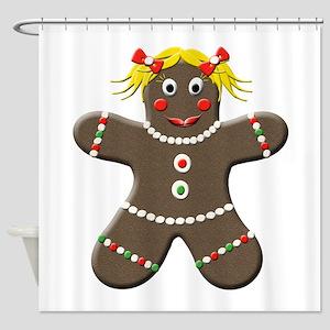 Gingerbread Girl Christmas Shower Curtain