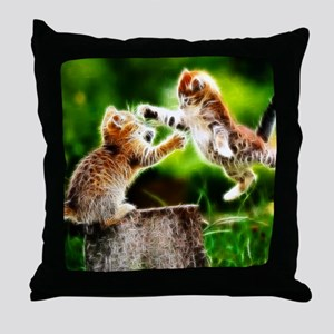 Kung Fu Kittens Fractal Throw Pillow
