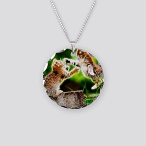 Kung Fu Kittens Fractal Necklace Circle Charm