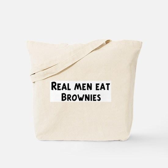 Men eat Brownies Tote Bag
