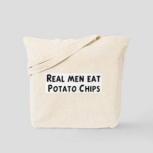 Men eat Potato Chips Tote Bag