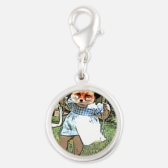 Red Fox Swings Silver Round Charm