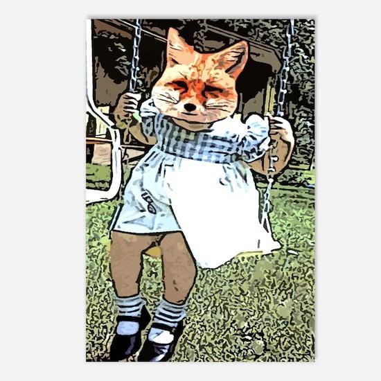 Red Fox Swings Postcards (Package of 8)
