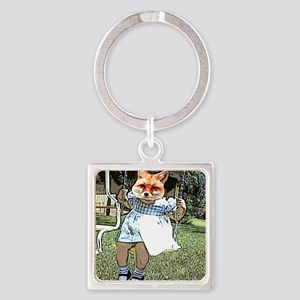 Red Fox Swings Square Keychain