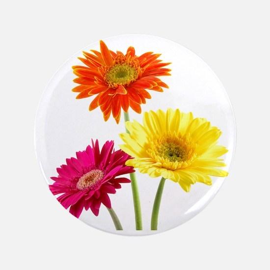 """Daisy Gerbera Flowers 3.5"""" Button"""