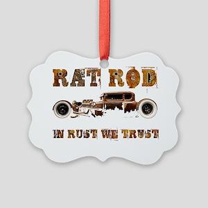 Rat Rod - In rust we trust Picture Ornament