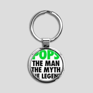 Pops - The Legend - Black Round Keychain