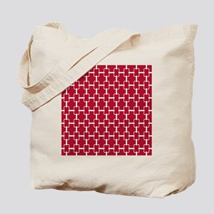 Rectangle Links Sq W Dk Berry Red Tote Bag