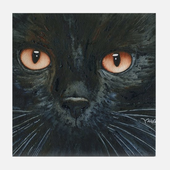 Black Velvet Cat by Lori Alexander Tile Coaster