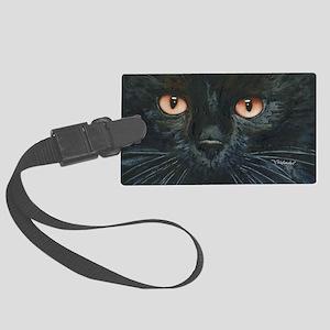 Black Velvet Cat by Lori Alexand Large Luggage Tag