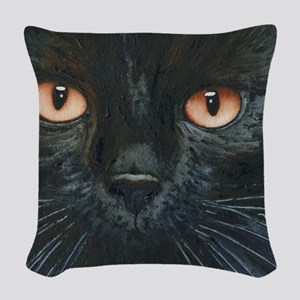 Black Velvet Cat by Lori Alexa Woven Throw Pillow