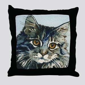 Elfin Maine Coon Cat by Lori Alexande Throw Pillow