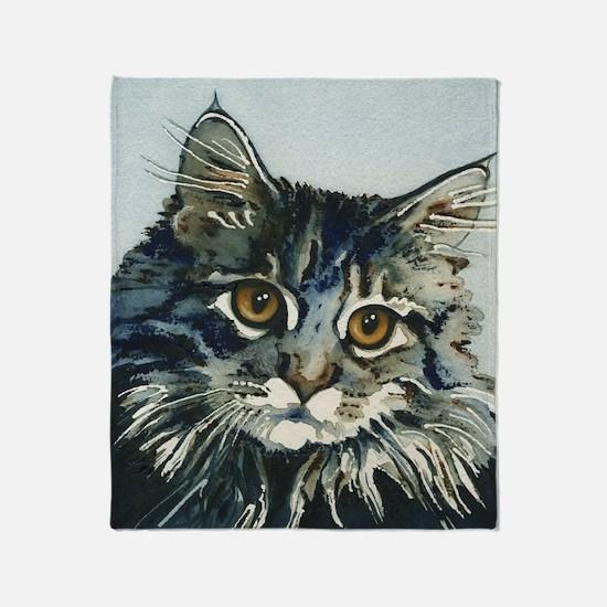 Elfin Maine Coon Cat by Lori Alexand Throw Blanket