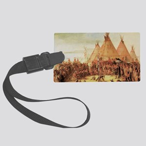 Sioux War Council by George Catl Large Luggage Tag