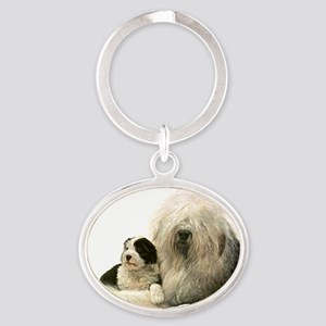 Old Eng and Pup Oval Keychain