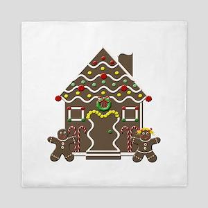 Cute Gingerbread House Christmas Queen Duvet