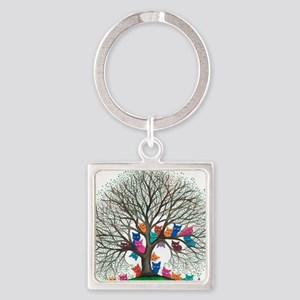 Connecticut Stray Cats in Tree by  Square Keychain