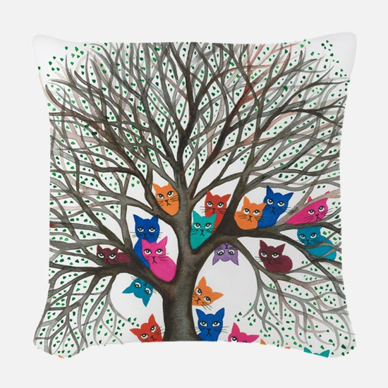Connecticut Stray Cats in Tree Woven Throw Pillow