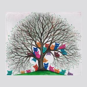 Connecticut Stray Cats in Tree by Lo Throw Blanket