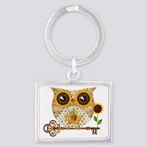 Owls Autumn Song Landscape Keychain
