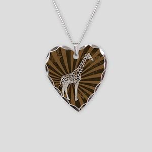 Retro Giraffe  Necklace Heart Charm
