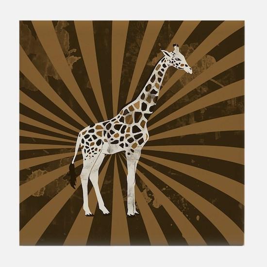 Retro Giraffe  Tile Coaster