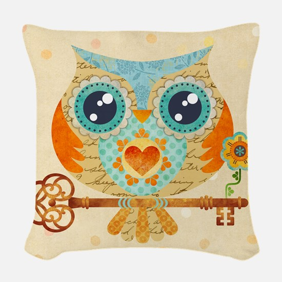 Owls Summer Love Letters Woven Throw Pillow