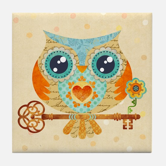 Owls Summer Love Letters Tile Coaster