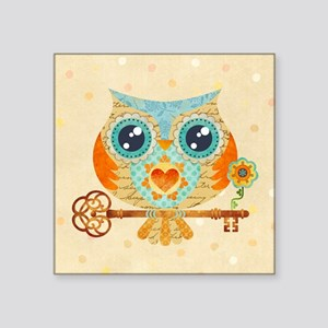 "Owls Summer Love Letters Square Sticker 3"" x 3"""