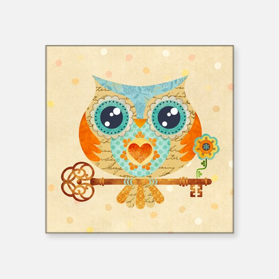 """Owls Summer Love Letters Square Sticker 3"""" x 3"""""""
