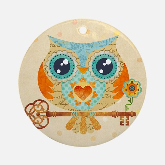 Owls Summer Love Letters Round Ornament