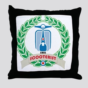 Mod Skinhead Scooterist Throw Pillow