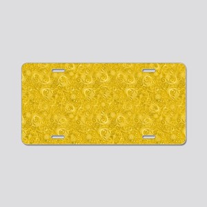 Yellow Swirling Paisley Pat Aluminum License Plate
