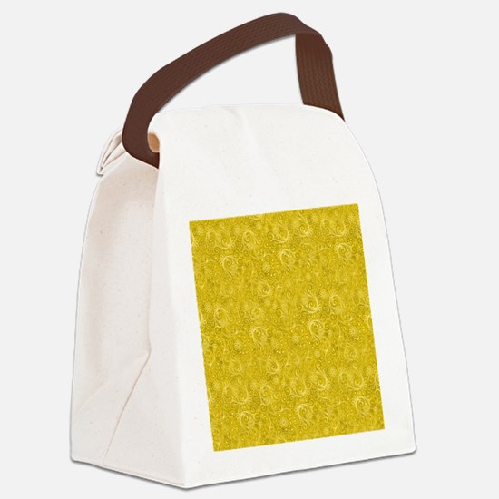 Yellow Swirling Paisley Pattern Canvas Lunch Bag