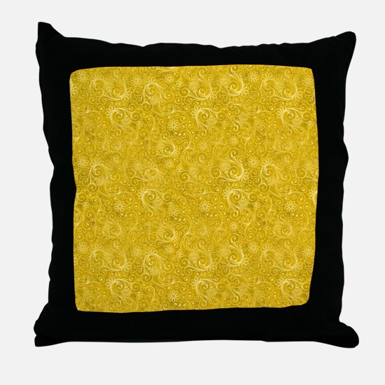 Yellow Swirling Paisley Pattern Throw Pillow