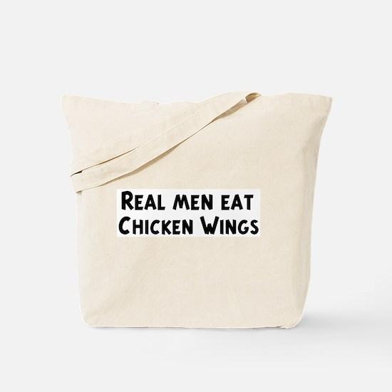 Men eat Chicken Wings Tote Bag