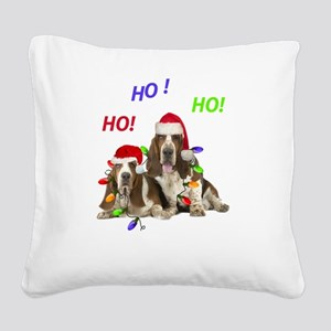 Basset Hound Ho Ho Ho Square Canvas Pillow