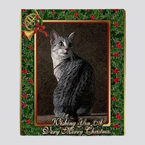 Egyptian Mau Cat Christmas Throw Blanket