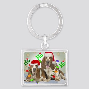 TWO BASSETS IN CHRISTMAS LIGHTS Landscape Keychain