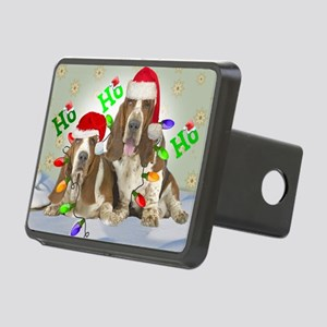 TWO BASSETS IN CHRISTMAS L Rectangular Hitch Cover