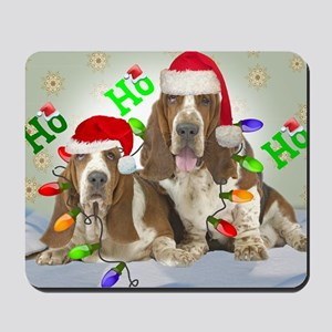 TWO BASSETS IN CHRISTMAS LIGHTS cards Mousepad