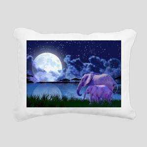 Contemplative Elephants Rectangular Canvas Pillow