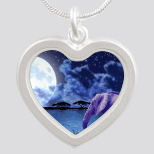 Contemplative Elephants Silver Heart Necklace