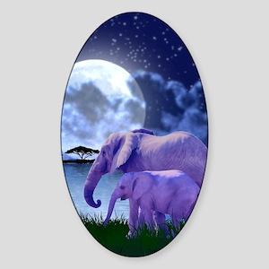Contemplative Elephants Sticker (Oval)