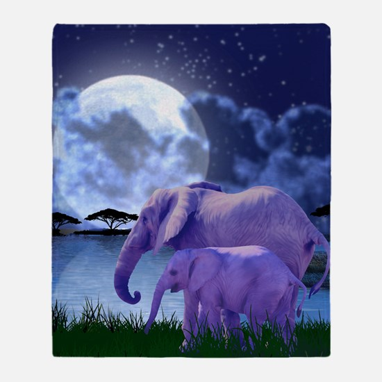 Contemplative Elephants Throw Blanket