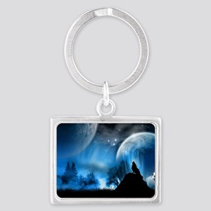 Wolf at Midnight Landscape Keychain