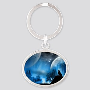 Wolf at Midnight Oval Keychain